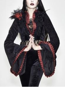 Stand-Up Collar Rose Flower Neckline Big Long Sleeve Black Gothic Embossed Velvet Short Coat