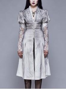 V-Neck Lace Flare Sleeve Grey Gothic Print Jacquard Long Coat