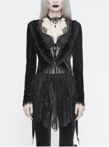 Big Collar Long Sleeve Back Dovetail Lace Hem Black Gothic Velvet Coat