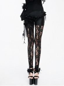 Front Frill Tassels Side Lace-Up Splice Rose Lace Mesh Black Gothic Knit Legging