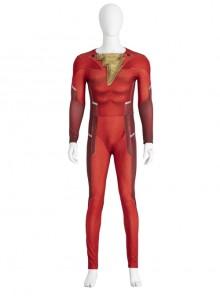 Shazam Fury Of The Gods Shazam Halloween Cosplay Costume Red Bodysuit