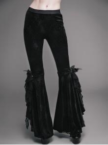 Black Gothic Lace Hem Embossed Velvet Flare Trousers