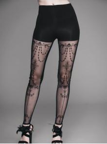 Black Splice Flocking Printed Bead Chain Pattern Mesh Gothic Knit Legging