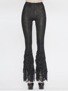 Black Gothic Beaded Webbing Decoration Frill Lace Hem Knit Jacquard Legging