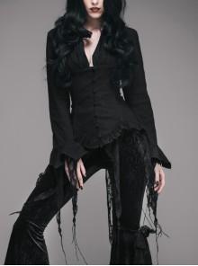 V-Neck Long Sleeve Flare Cuff Back Waist Lace-Up Irregular Lace Tassels Hem Black Gothic Jacquard Blouse