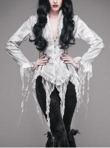 V-Neck Long Sleeve Flare Cuff Back Waist Lace-Up Irregular Lace Tassels Hem White Printed Gothic Jacquard Blouse