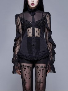 High Collar Front Chest Beaded Flowers Lace Cuff  Back Waist Lace-Up Black Gothic Chiffon Blouse