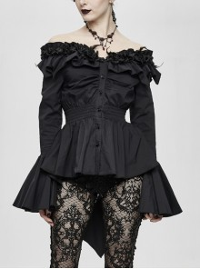 Rose Flowers Decoration One-Word Collar Long Sleeve Flare Cuff Black Gothic Blouse