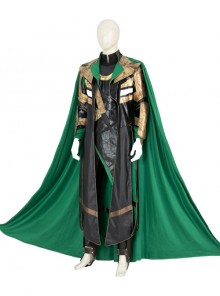 TV Drama Loki Armor Battle Suit Upgrade Version Halloween Cosplay Costume Green Cloak