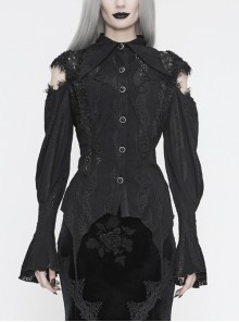 Front Chest Webbing Appliques Hollow-Out Lantern Sleeve Flare Cuff Back Waist Lace-Up Black Gothic Blouse