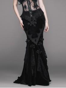 Rose Decoration Frill Hem Black Gothic Rose Pattern Embossed Velvet Long Gown Skirt