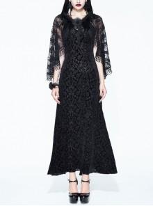 Black Gothic Lace Shawl Dark Pattern Velvet Slip Dress