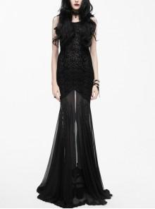 Shoulder Feather Lace Black Gothic Flocking Pattern Mesh Floor-Length Fishtail Dress