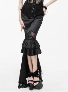 Back Decals Transparent Mesh Hem Black Gothic Satin Trailing Skirt