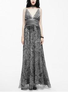 Big V-Neck Embroidery Lace Hem Grey Gothic Imitation Silk Chiffon Long Sling Dress