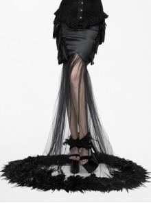 Black Gothic Mesh Fishtail Flower Feather Hem Long Satin Skirt
