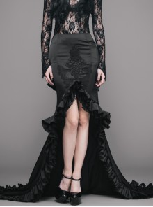 Front Lace Decals Back Wavy Flounce Big Tail Black Gothic Satin Floor-Length Gown Skirt