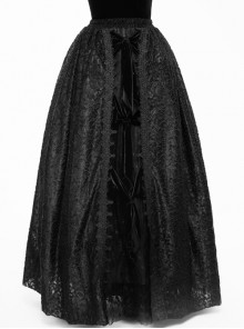 Black Gothic Three-Dimensional Embroidered Multi-Layer Lotus Leaves Velvet Long Skirt