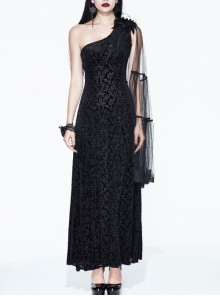 One-Shoulder Mesh Shawl Feather Lace Decoration Black Gothic Velvet Long Dress