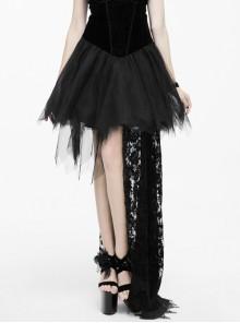 Front Chest Feather Multi-Layer Gauze Hem Flocking Rose Mesh Single Tail Black Gothic Velvet Dress