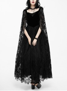 Collar Decals Shoulder Feather Lace Decoration Lace Shawl Black Gothic Velvet Dress