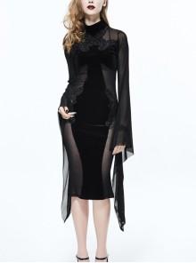 High Collar Front Chest Decals Splice Mesh Flare Sleeve Black Gothic Velvet Dress