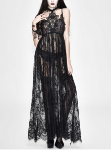 Front Chest Decals Black Gothic Transparent Positioning Pattern Lace Halter Sling Long Dress