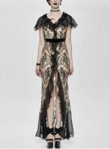V-Neck Short Sleeve Lace Fishtail Light Brown Gothic Floor-Length Chiffon Long Dress