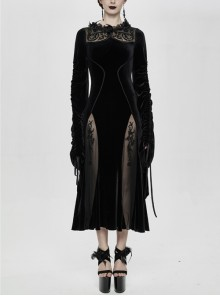 Front Chest Decals Back Splice Mesh Lace-Up Flare Sleeve Black Gothic Flocking Dress