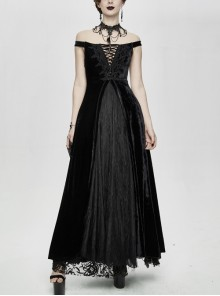 Flat Shoulder Front Chest Decals Lace-Up Splice Tassels Chiffon Black Gothic Velvet Long Dress