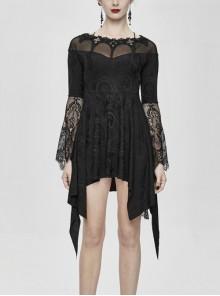 Off-Shoulder Collar Cross Decoration Flare Sleeve Black Gothic Tassels Knit Dress