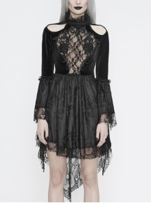 High Collar Off-Shoulder Front Chest Embroidery Beaded Flare Sleeve Black Gothic Lace Dress
