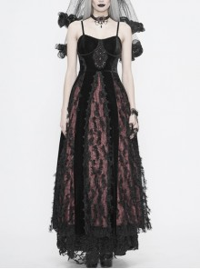 Wine Red Gothic Front Chest Decals Dense Velvet Long Sling Dress