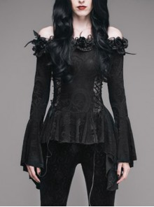 One-Word Shoulder Rose Decoration Collar Waist Side Splice Lace Lace-Up Flare Sleeve Black Gothic Knit T-Shirt