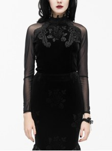 High Collar Front Chest Rose Decals Mesh Long Sleeve Black Gothic Rose Embossed Velvet T-Shirt