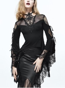 Front Chest Decals Flare Sleeve Back Waist Lace-Up Lace Hem Black Gothic Knit T-Shirt