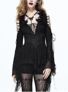 Big V-Neck Lace-Up Back Collar Rose Feather Decoration Lace Flare Sleeve Black Gothic Knit T-Shirt