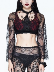Front Chest Decals Beads Chain Lace Long Sleeve Black And Red Gothic Knit Halter Short T-Shirt