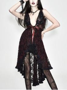 Waist Knot Back Lace-Up Frill Hem Wine Red Gothic Sleeveless Rose Lace Mesh T-Shirt