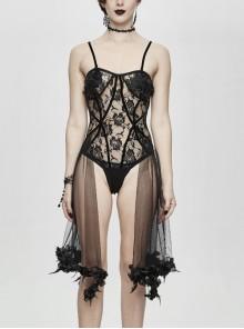 Black Gothic Translucent Rose Lace Mesh Hem Sling Jumpsuit