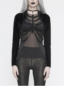 Front Beads Chain Decoration Velvet Frill Shawl Black Gothic Mesh T-Shirt