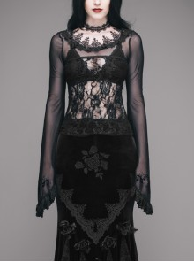 Black Gothic Lace Collar Big Flare Sleeve Rose Lace Mesh T-Shirt
