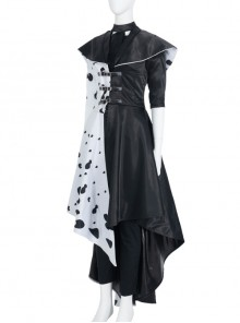 Cruella Black-white Coat Suit Halloween Cosplay Costume Long Coat