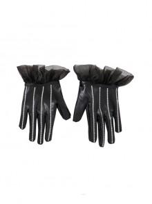 Cruella Black-white Coat Suit Halloween Cosplay Accessories Black Gloves