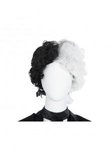 Cruella Black-white Coat Suit Halloween Cosplay Accessories Black-white Wig