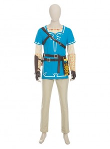 The Legend Of Zelda Link Blue Champion's Tunic Suit Halloween Cosplay Costume Set Without Shoes