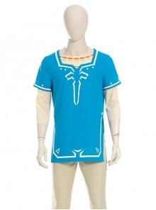 The Legend Of Zelda Link Blue Champion's Tunic Suit Halloween Cosplay Costume Blue Short Sleeve Top
