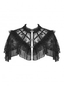 Black Gothic Sexy Ruffled Pullover Lace Cotton Cloak