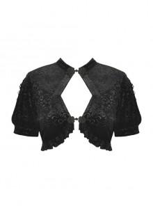 Black Gothic Pattern Velvet Elegant Sexy Short-Sleeves Cape