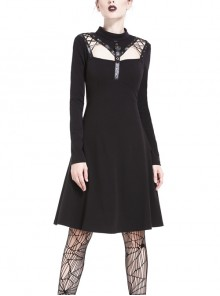 Punk Cool Black Hollow Lace-Up Clasp Cotton Midi Dress
